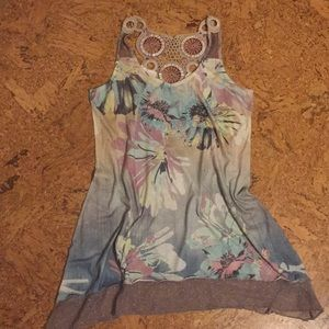 Tank with lace trim and intricate back